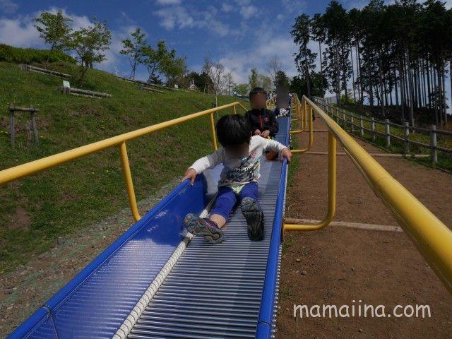 富士山樹空の森の公園での遊具で遊ぶ子供