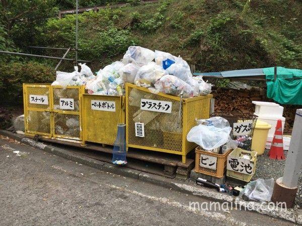 神之川キャンプ場のゴミ集積場