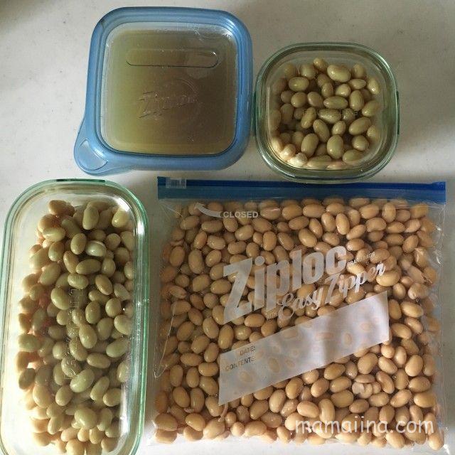 大豆を煮て小分けにする