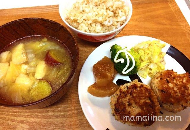 共働き平日の夕食献立 鶏つくね定食