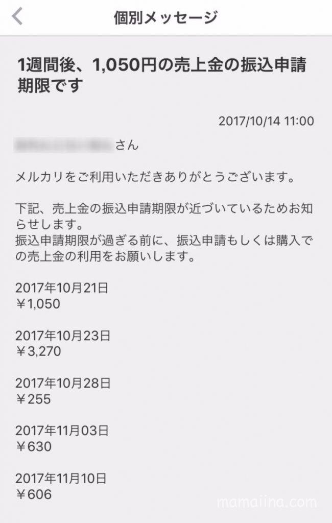 メルカリでの売上金が失効するお知らせ詳細